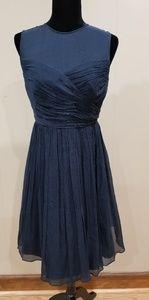 J. Crew Clara Silk Chiffon Navy Dress - size 6